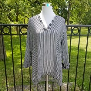 Nwt! Black and white striped roll sleeve blouse